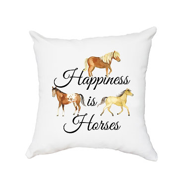 White cushion cover with zip happiness is horses image front view