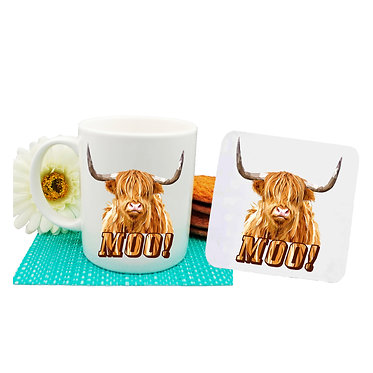 Ceramic coffee mug and neoprene drink coaster set with highland cow image and text moo! front view