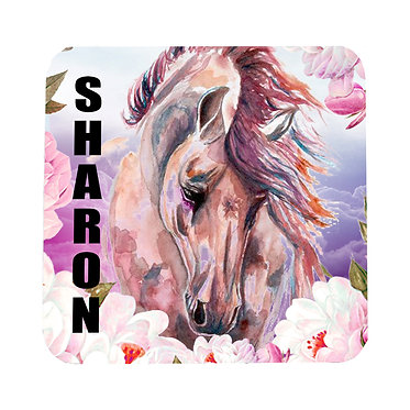 Personalised neoprene drink coaster sets personalised horse in flowers image front view