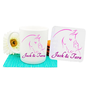 Personalised coffee mug and coaster set girl and horse together hot pink image front view