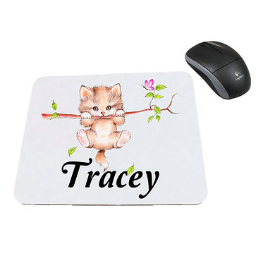 Personalized computer mouse pad with cute kitty on branch image front view