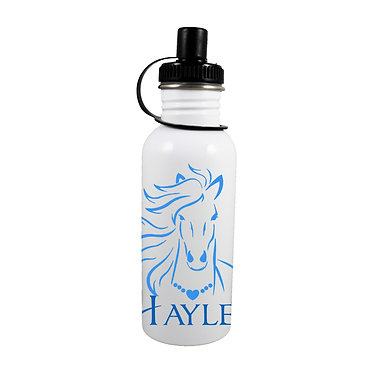 Personalised stainless steel water bottle horse with flowing mane blue image front view