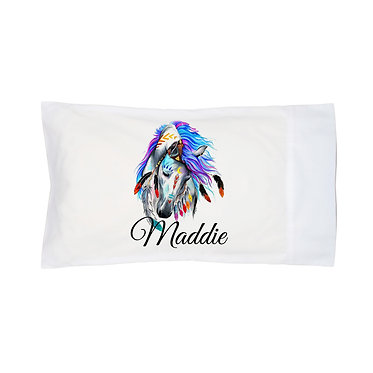 Personalised horse pillow case spirit horse image front right facing view