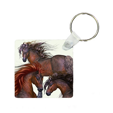 Square MDF wood key-ring three beautiful horses image front view