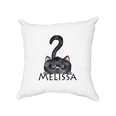 Personalized white cushion cover with zip 40cm x 40cm with name and cute black cat image front view