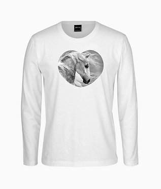 Adults long sleeve t-shirt white with a beautiful grey horse in heart image front view