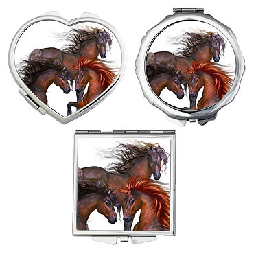 Compact mirrors in 3 shapes heart, round and square three beautiful horses image front view