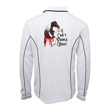 White with dark navy pipping polo top long sleeve I can't people today horse image back view