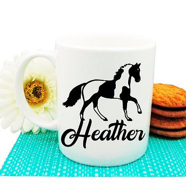 Personalised ceramic coffee mug paint horse image front view