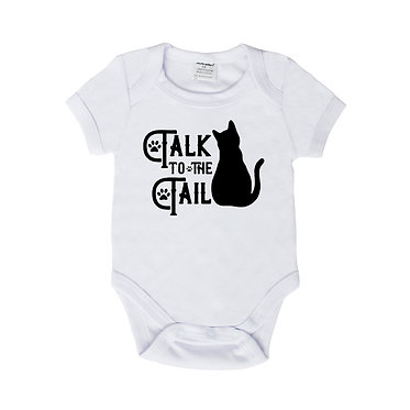 Baby romper play suit white with black cat talk to the tail image front view