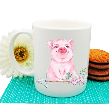 Ceramic coffee mug with cute pig sitting on arrow with flowers front view