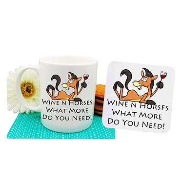 Ceramic coffee mug and drink coaster set with wine n horses what more do you need image front view