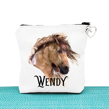 White cosmetic toiletry bag with zipper personalised wild paint horse image front view