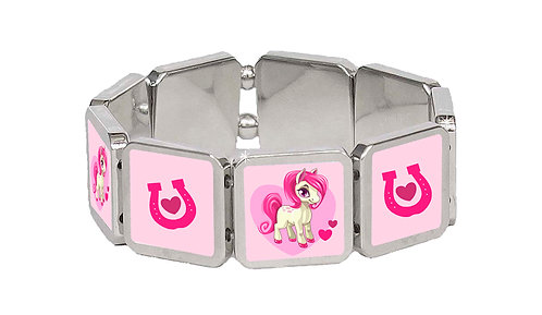 Pink heart pony kids panel bracelet Front view