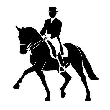 Dressage rider vinyl decal sticker black front view