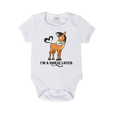 Baby romper play suit white with I'm a horse lover image front view