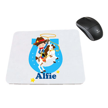 Neoprene computer mouse pad personalised cowboy blue image front view