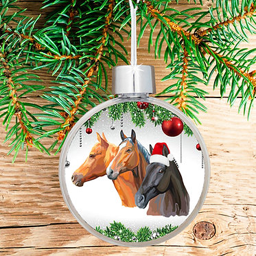 Three horses Christmas ball bauble front view