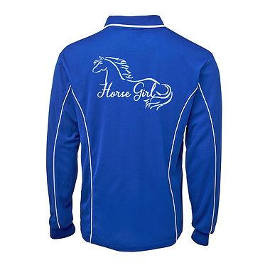 Adults long sleeve polo shirt royal blue white horse girl image back view