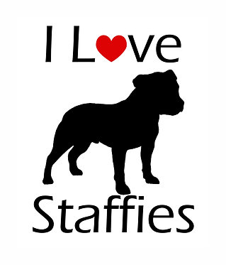 I love staffies vynil dog decal sticker in black front view