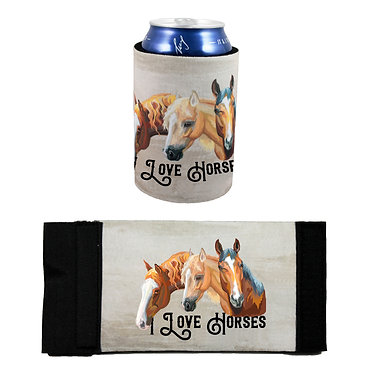 Neoprene stubby cooler with I love horses image front and flat view
