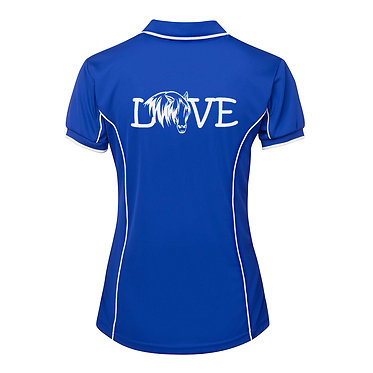 Ladies horse pipping polo shirt royal blue white horse girl image back view