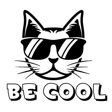 Cat vinyl decal sticker be cool cat front view