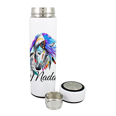 Personalised thermos flask drink travel bottle stainless steel spirit horse image front lid off view