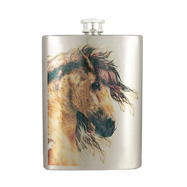 Stainless steel hip flask wild paint horse image front view