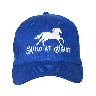 Royal blue cap hat with wild at heart horse image front view