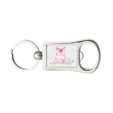 Bottle opener metal key ring with cute pig sitting on arrow with flowers front view