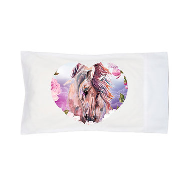 Pillowcase white horse dreams image front right view