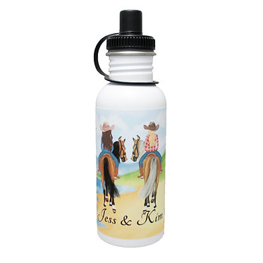 Personalised stainless steel water bottle best friends beach horse riding image front view