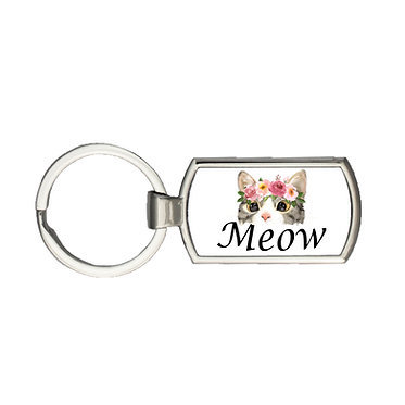 Rectangle keyring cat meow image front view
