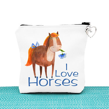 White cosmetic toiletry bag with zipper cute I love horses image front view