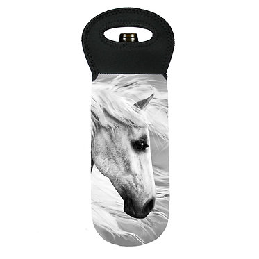 Wine cooler carry bag neoprene beautiful white horse image front view