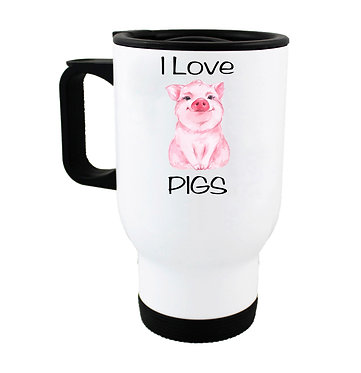 Travel mug with i love pigs image front view