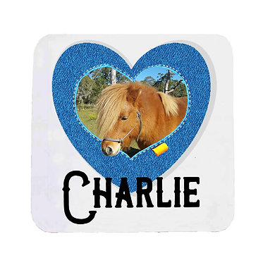 Neoprene drink coaster personalized with photo and text in a denim heart frame photo front view