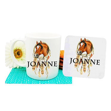 Personalised ceramic coffee mug and coaster set dream catcher horse front view