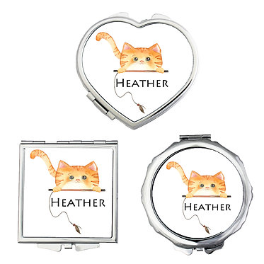 Compact mirrors three shapes round, square, heart personalized with name and a ginger cat image front view