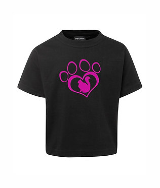 kids cotton t-shirt black cat in heart paw print image front view