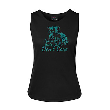 Ladies singlet top black with turquoise cute horse and the quote barn hair don't care image front view