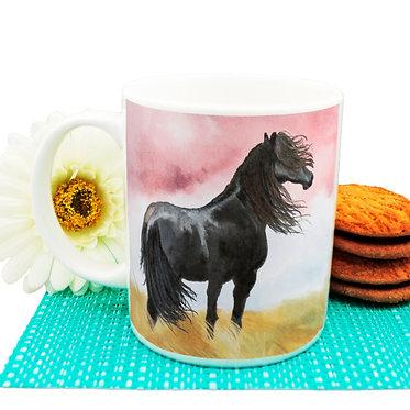 Black horse ceramic coffee mug front view