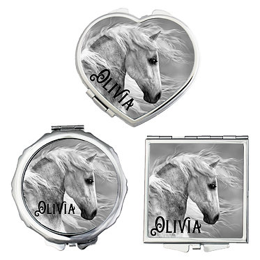 Set of three compact mirrors personalised black and white horse image front view
