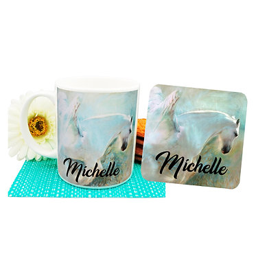 Personalised ceramic coffee mug and coaster set angelic horse front view