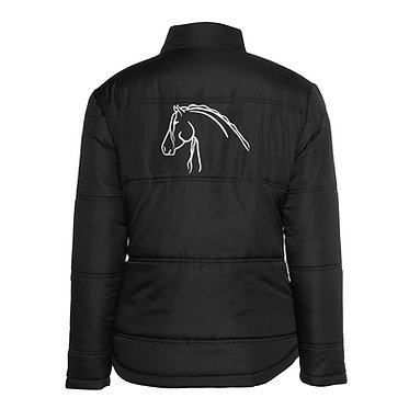 Ladies horse theme puffer jacket black with white beautiful heavy horse image back view