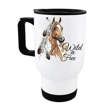 Travel mug with paint horse wild n free image front view