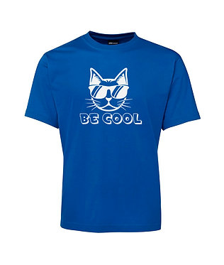Adults t-shirt royal blue with be cool cat image front view