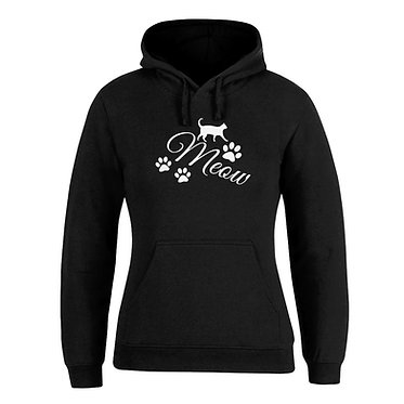 Hoodie jumper black with white cat meow front view
