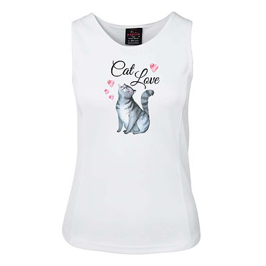 White ladies singlet top white with cat love image front view